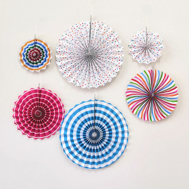 6pcsset Colorful Round Paper Fans Handmade Birthday Kids Party