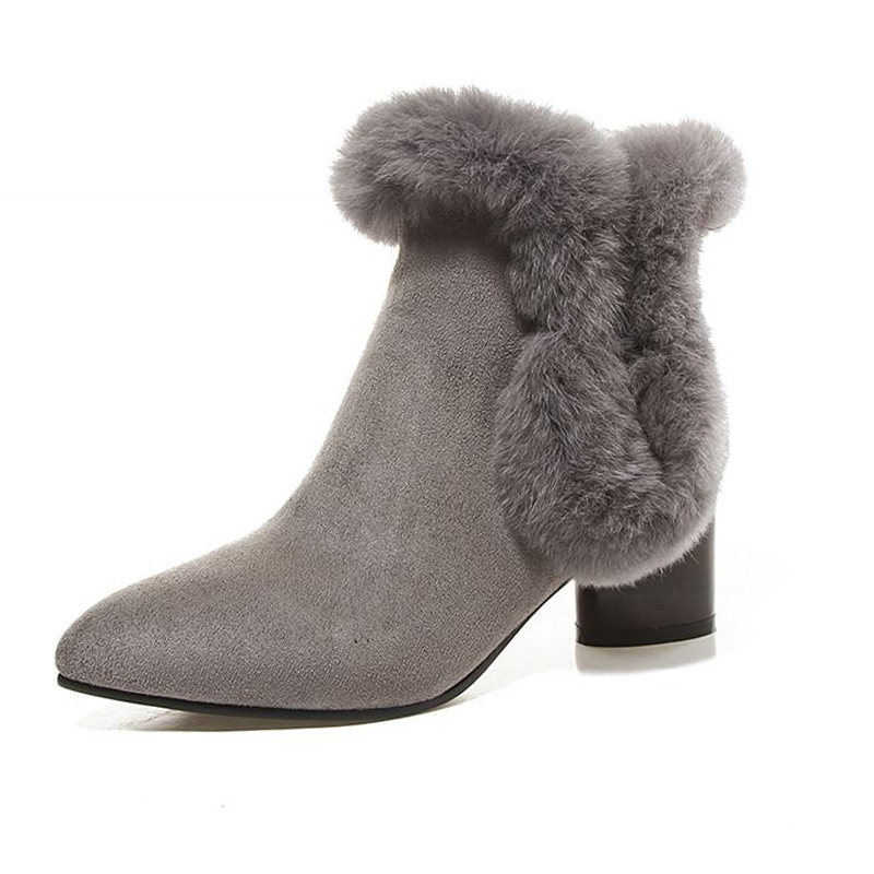 Big Size 33 44 2016 Zip Fur Charm Ankle Boots for Women Shoes Pointed Toe Fall