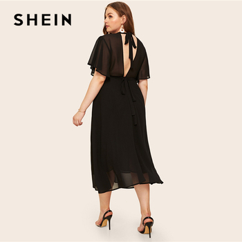 SHEIN Plus Size Black Tie Back Flutter Sleeve Dress 2019 Women Summer Elegant Stand Collar High Waist A Line Plus Long Dresses