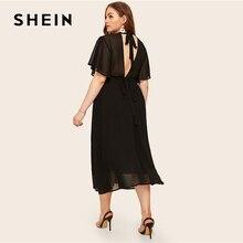 SHEIN Plus rozmiar czarny krawat powrót trzepoczący rękaw sukienka 2019 kobiety lato elegancki stojak kołnierz wysokiej talii linii Plus długie sukienki