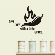 Live Life With A Little Spice Kitchen Wall Sticker Home Decor Kitchen Room Vinyl Art Decal Wall Transfer Poster