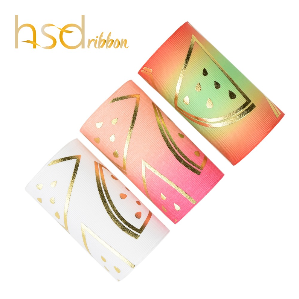 HSDRibbon 75mm 3inch custom watermelon gold Foil Printed on Solid and HT Grosgrain Ribbon