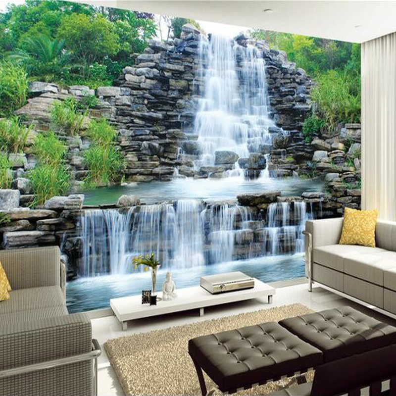 Custom 3d mural wallpaper water flowing waterfall nature for Art mural wallpaper