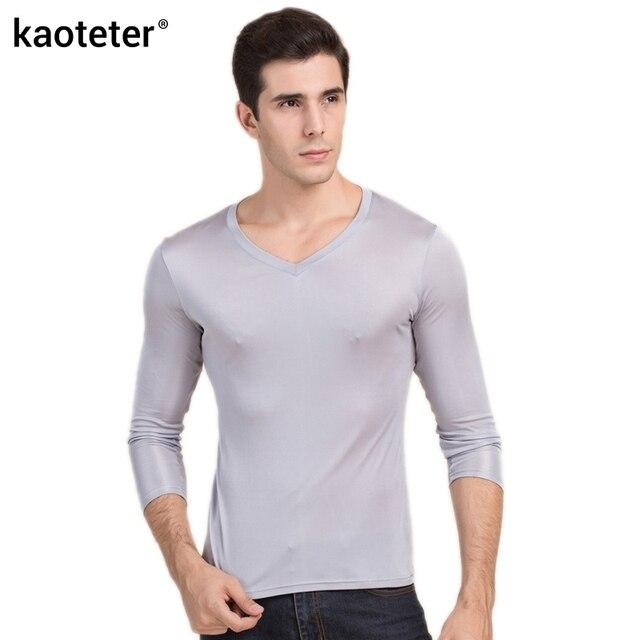 100% gerçek ipek erkek t shirt sonbahar kış tam uzun kollu V boyun adam vahşi siyah beyaz renk erkek dip tee gömlek Tops