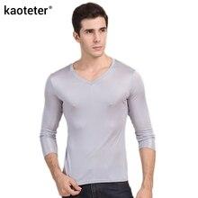 100% real do homem de seda t shirts outono inverno cheio manga longa com decote em v homem selvagem preto branco cor masculina camisetas de fundo