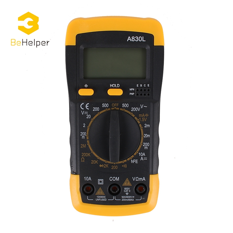 BeHelper LCD Digital Multimeter Backlight Max 1999 Counts, AC/DC Ammeter Voltmeter Ohm, Portable Voltage Meter Tester