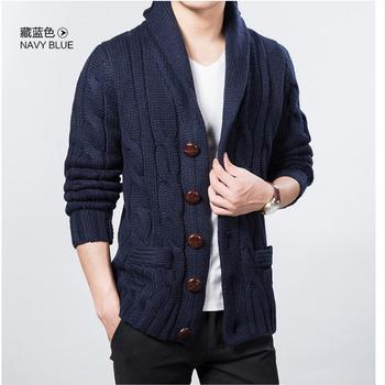 M-3XL Casual Men's Clothing Woolen Jacket Spring and Autumn New Knit Cardigan Large Lapel Large Size Tide Sweater Coat