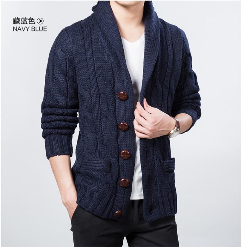 M-3XL décontracté vêtements pour hommes En Laine Veste Printemps et Automne Nouveau Tricot Cardigan Revers Large Grande Taille Marée Pull Manteau