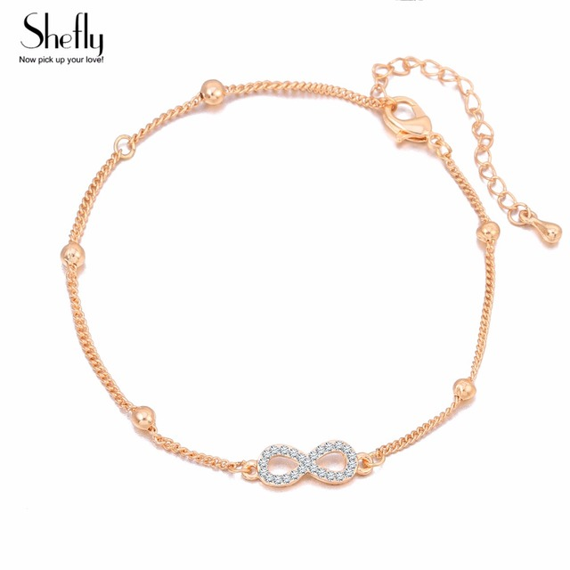 Bohemian Cz Zircon Anklets For Women Good Luck 8 Words Ankle Bracelet Charm Beach Foot Jewelry