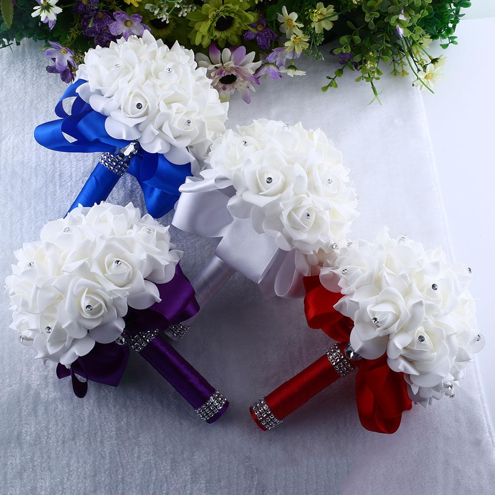 Brooch Bride Rhinestone Wedding Bouquet Fake Artificial Flowers