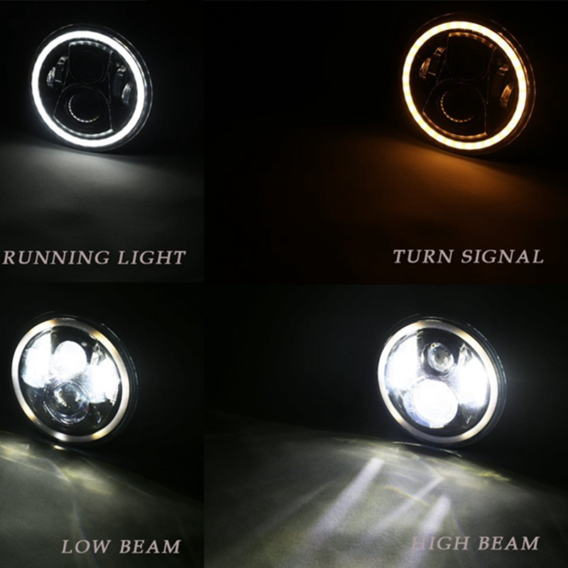 Yait 7 Round Headlamp 7 Inch 60W H4 LED Headlights With Angle Eyes for Lada 4x4