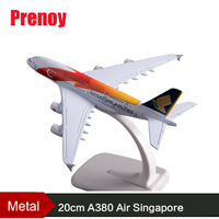 20CM A380 Air Singapore Aircraft Model Color Painting Air Singapore Airplane Airways Airbus Metal Model Creative Craft Adult Toy