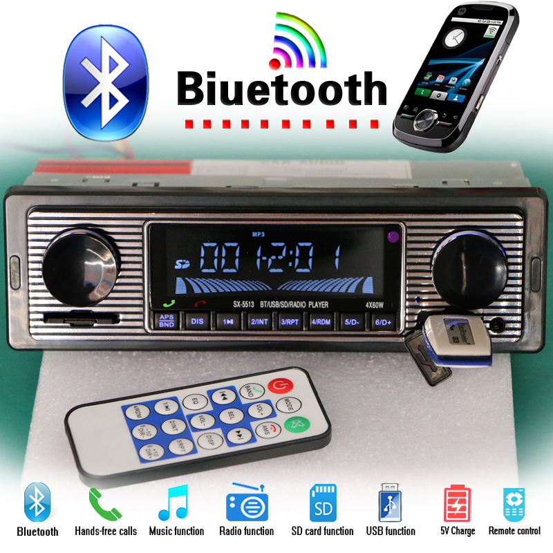 12 v/24 v autoradio Bluetooth Auto Lettore Radio MP3 FM Stereo USB Audio AUX Auto Elettronica oto teypleri radio para carro dab 1din