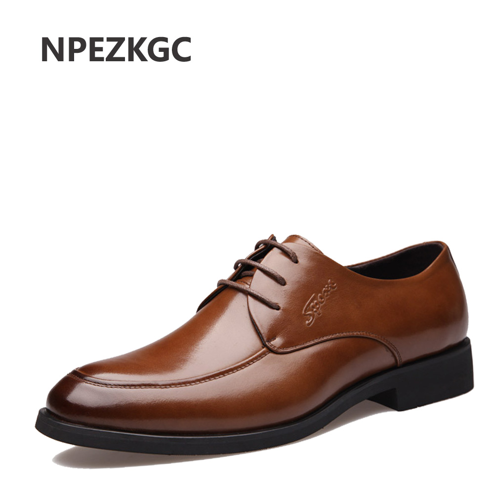NPEZKGC Brand Black men shoes Brown Men Dress Shoes, High Quality Fashion Oxford, Oxford Shoes For Men npezkgc brand high quality men oxford men leather dress shoes fashion business men shoes men dress pointed shoes wedding shoes