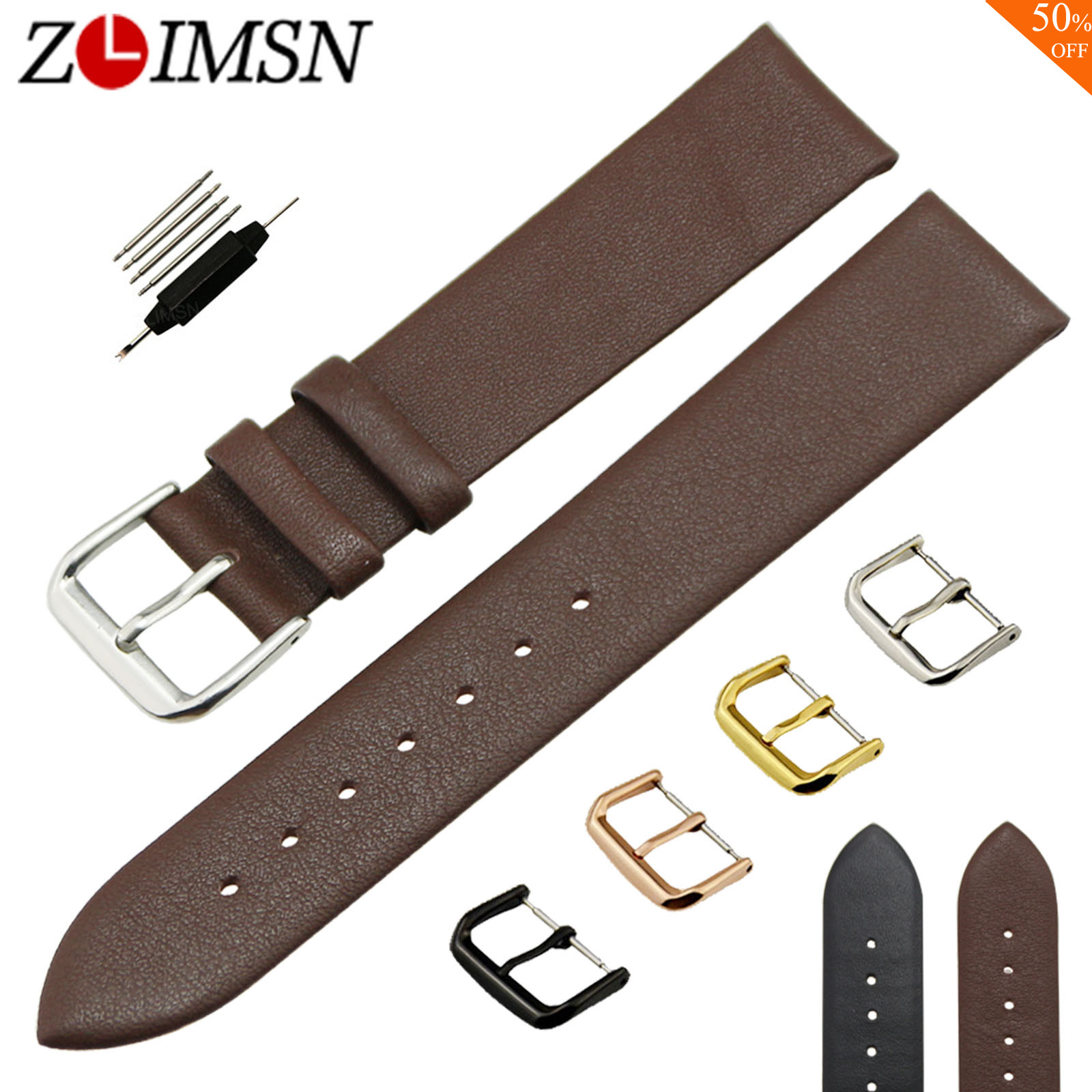 ZLIMSN Brown Genuine Leather Watchbands 18 20 22mm Thin Smooth Watch Strap Belt for Ladies Men's Watches Stainless Steel Buckle цена и фото