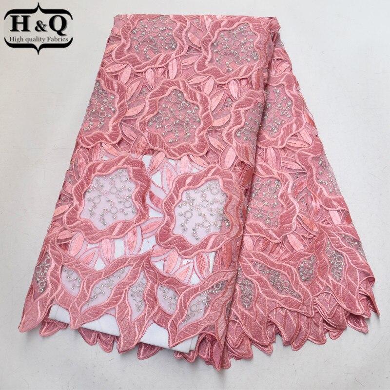 Różowy aksamitna hafty koronki afrykańska koronka z organzy tkaniny 2019 Hollow Out koronka z kamieniami dla pań śliczne Party suknia wieczorowa w Koronka od Dom i ogród na  Grupa 1