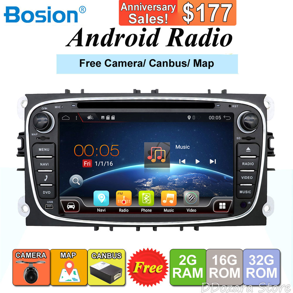 2 din Android 7.1 Quad Core lecteur DVD de voiture GPS Navi pour Ford Focus Mondeo Galaxy avec Audio Radio stéréo unité de tête gratuite Canbus