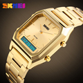 Золотой Мужчины Многофункциональный Аналоговый СВЕТОДИОДНЫЙ Цифровой Часы Мода Повседневная Dual Time Аналоговый Кварцевые Часы Мужчины Военный Спорт Wristw