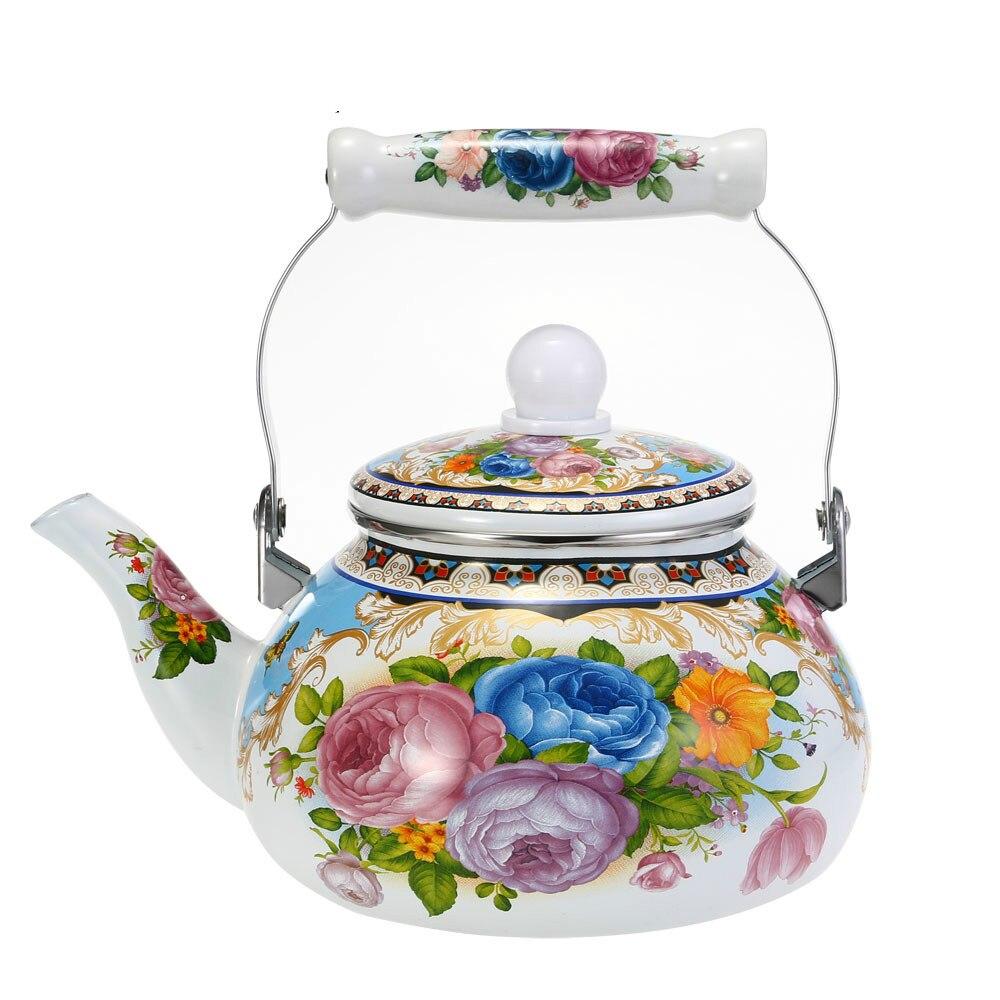 1 pièces Pot de timbre de fleurs 2.5L bouilloire lisse émail théière utilisé sur cuisinière électromagnétique/cuisinière à gaz/Tube électronique