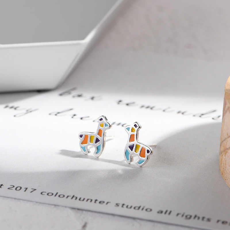 Lidavi 925 סטרלינג כסף צבעוני צבי בעלי החיים הרבעה עגילים לנשים ילדה ליידי חמוד חג המולד מתנות הווה תכשיטי VES6209