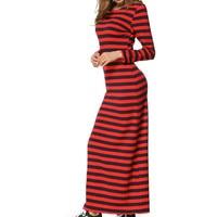 Feitong Women Tunic Elegant Maxi Dress 2018 Newest Red Yellow White Striped Long Casual Dress Fashion