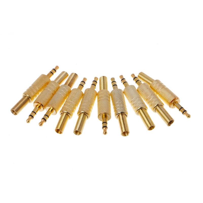 10 Pcs Gold Plated 3.5mm 2 Ring 3P Stereo Jack Plug Cable Solder Adapter Terminal W/Spring