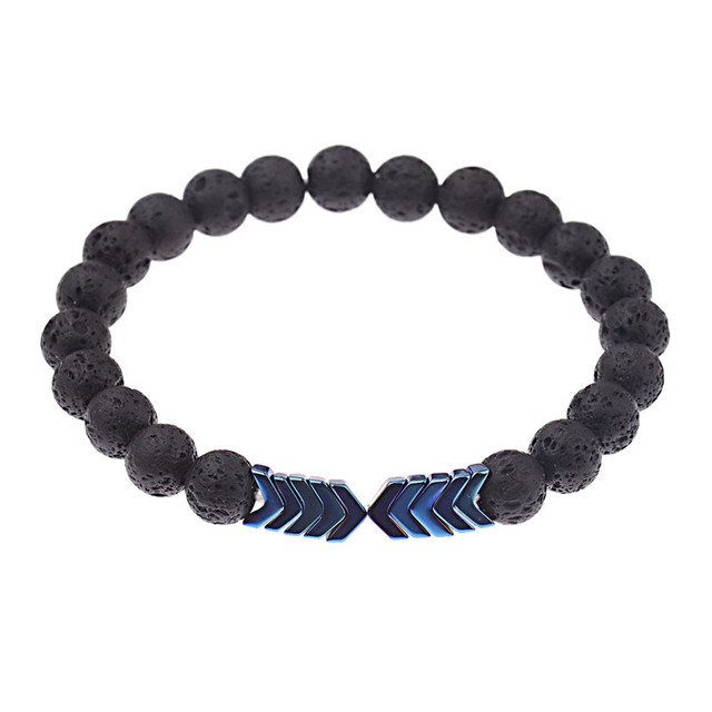 NEW Sacred Arrow Barbell Nature Lava Stone Diffuser Men And Women Bracelet E3
