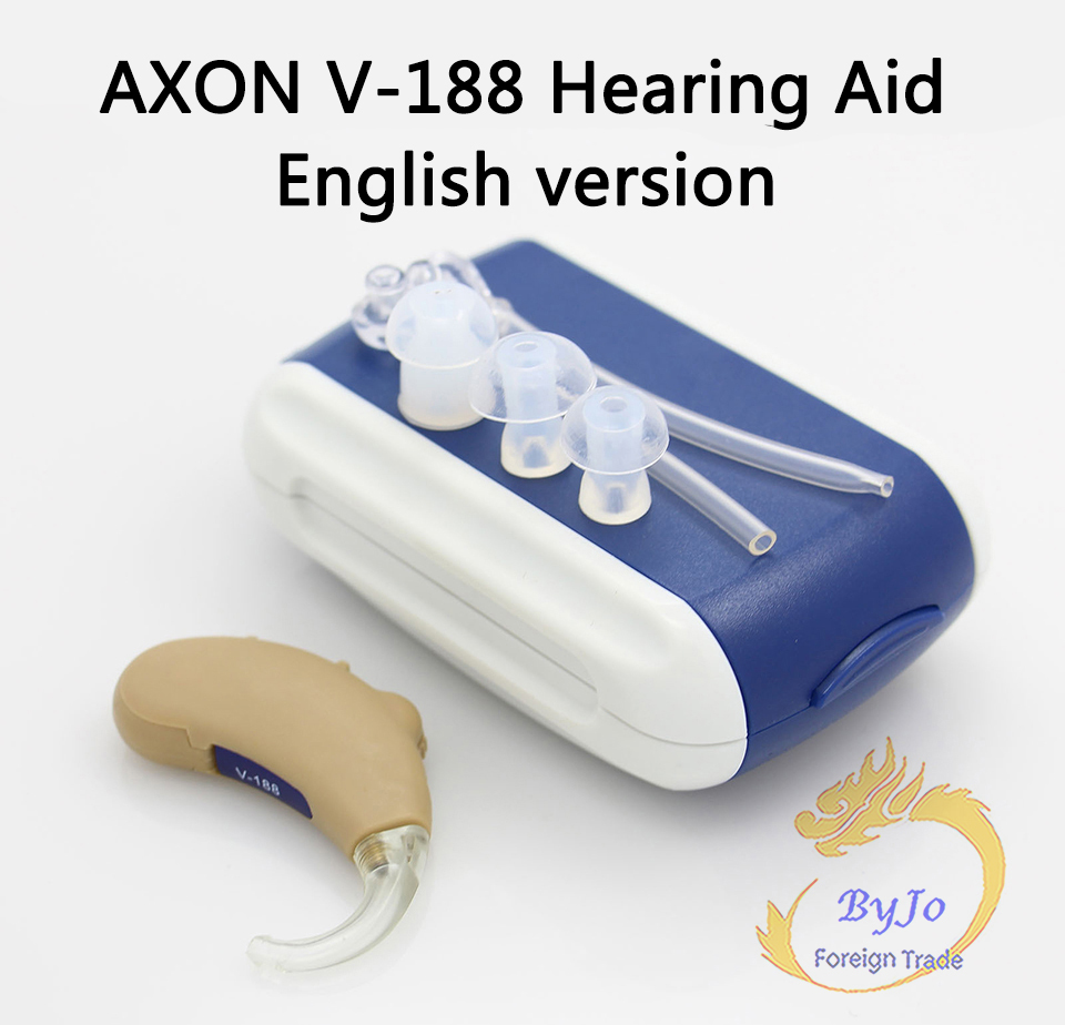 Original AXON V-188 English version Headphone Amplifier High Class BTE Hearing Aid Personal Sound Amplifier CE Certified axon hearing aid x 136