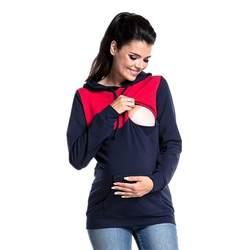 Одежда для беременных, Мультифункциональный хлопковый свитер для грудного вскармливания и зимняя шапка с длинными рукавами, одежда для
