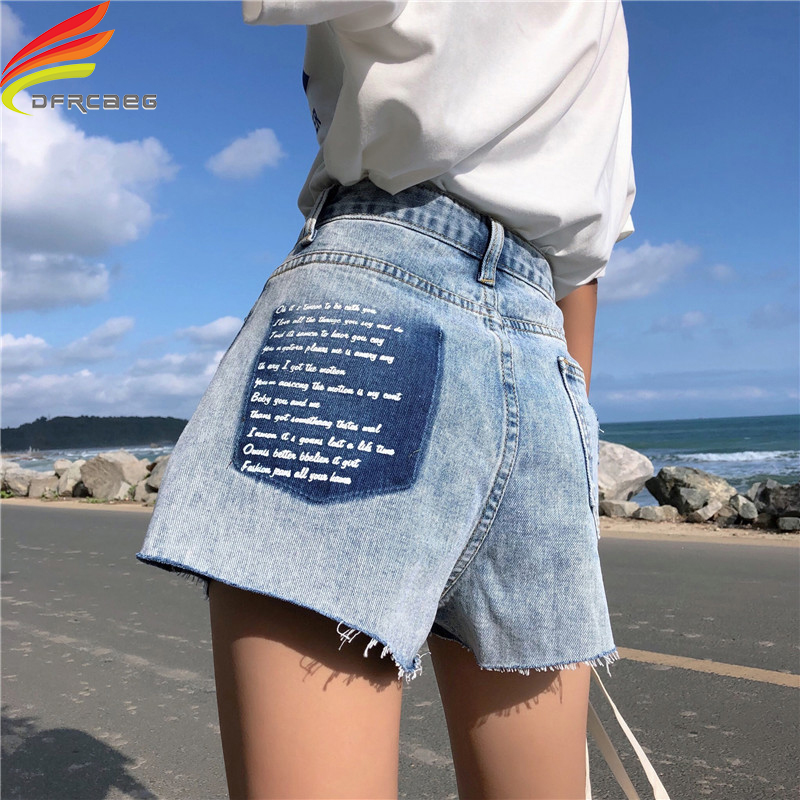 High Waist Summer Denim Shorts Women New Arrivals 2019 Letter Print Pockets Streetwear Blue Short Jeans Sequined Ladies Shorts