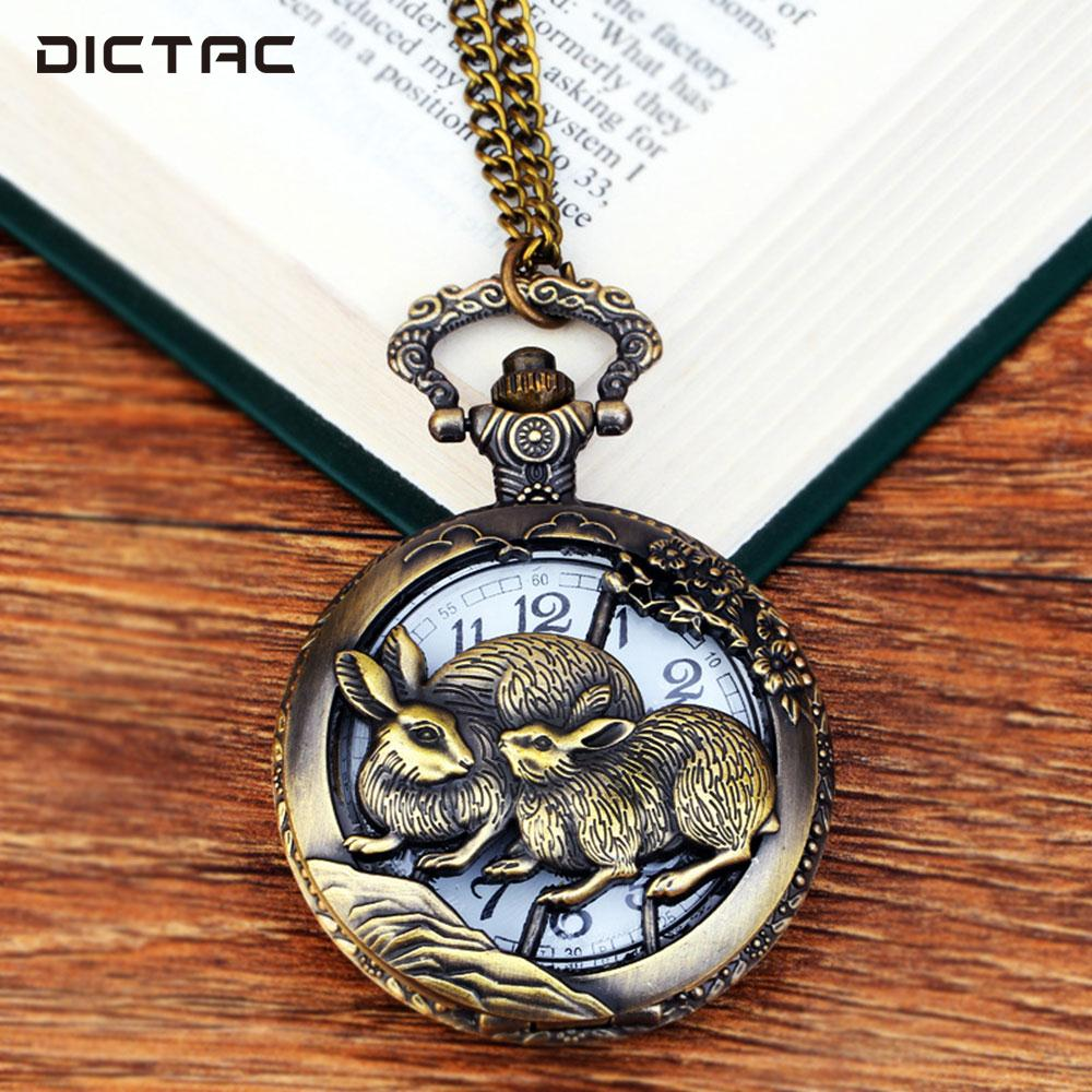 все цены на Rabbit Antique Pocket Watch Fob Pocket Watch Vintage Quartz Retro Animal Hanging Chain