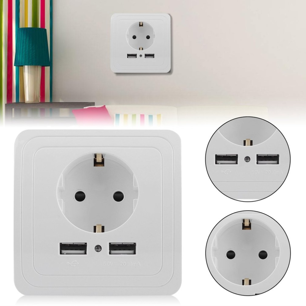 (Ship From DE)Professional 1PC Dual USB Port Wall Socket Wall Charger Adapter Power Outlet Panel German Plug White 220v 10a wall switch socket 4 port usb charger power outlet adapter panel g07 drop ship