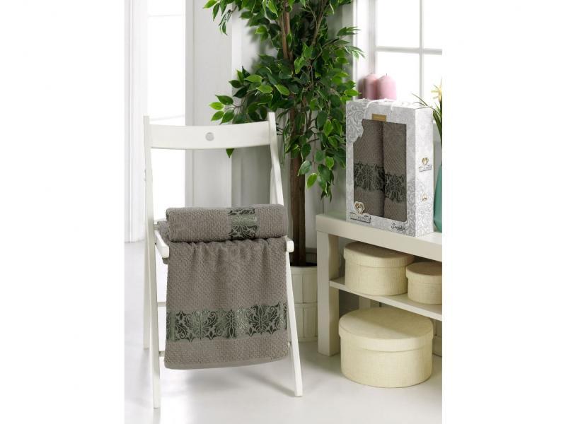 Towel set TWO DOLPHINS, Sevakin, 2 subject, Gray two tone handle eye brush set 3pcs