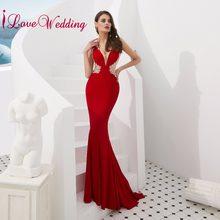 53cee3f38dc Nouveauté Robe de soirée longue 2018 Sexy col en V cristal perlé  transparent dos rouge luxe formelle longue Robe de bal
