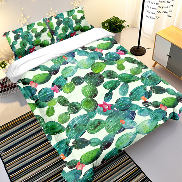 Spring/summer bed linen set quilts and bedding sets Cactus Plants 100% polyester Modern Twin Full Queen King Duvet Cover Set