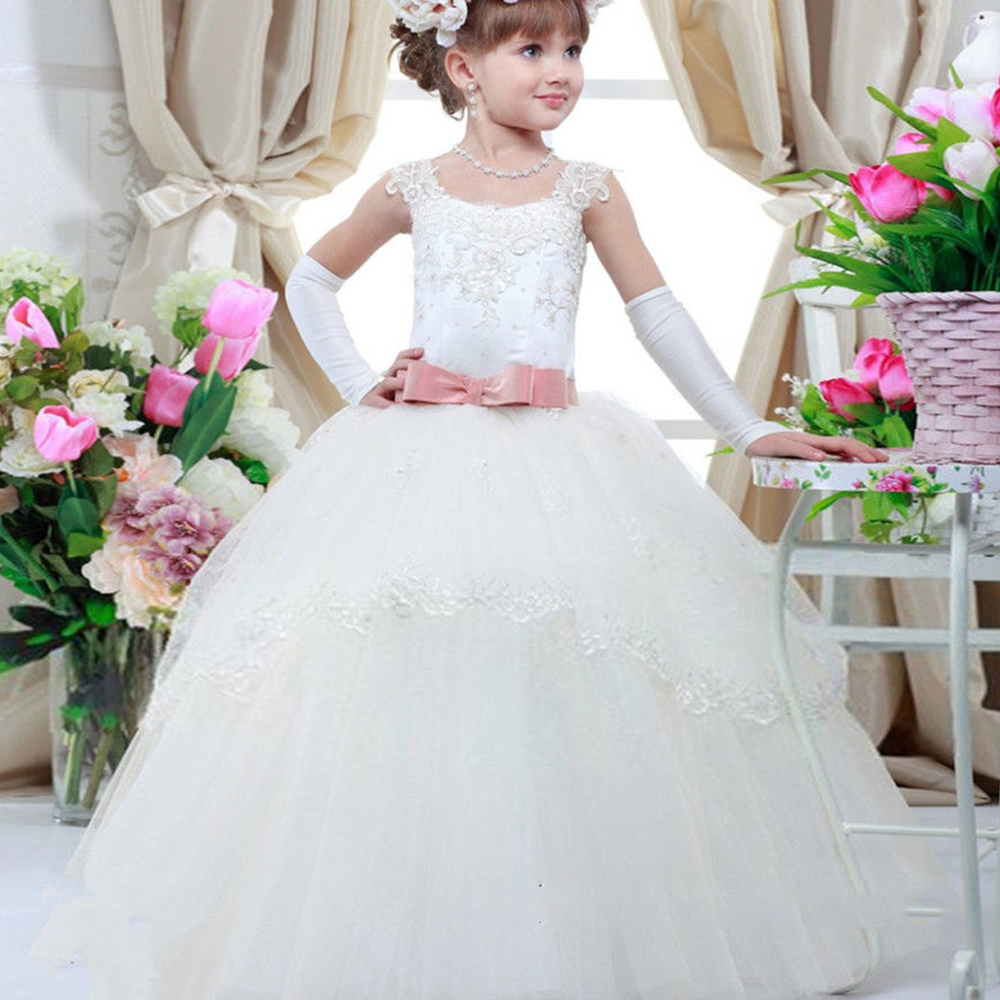 New Arrival Hot Sale WhitePrincess Lace Flower Girls Dresses Sleeveless Tutu Party Birthday Lace Up Ball Gown Bow Custom Made 1pcs 25cm new arrival hot sale mickey