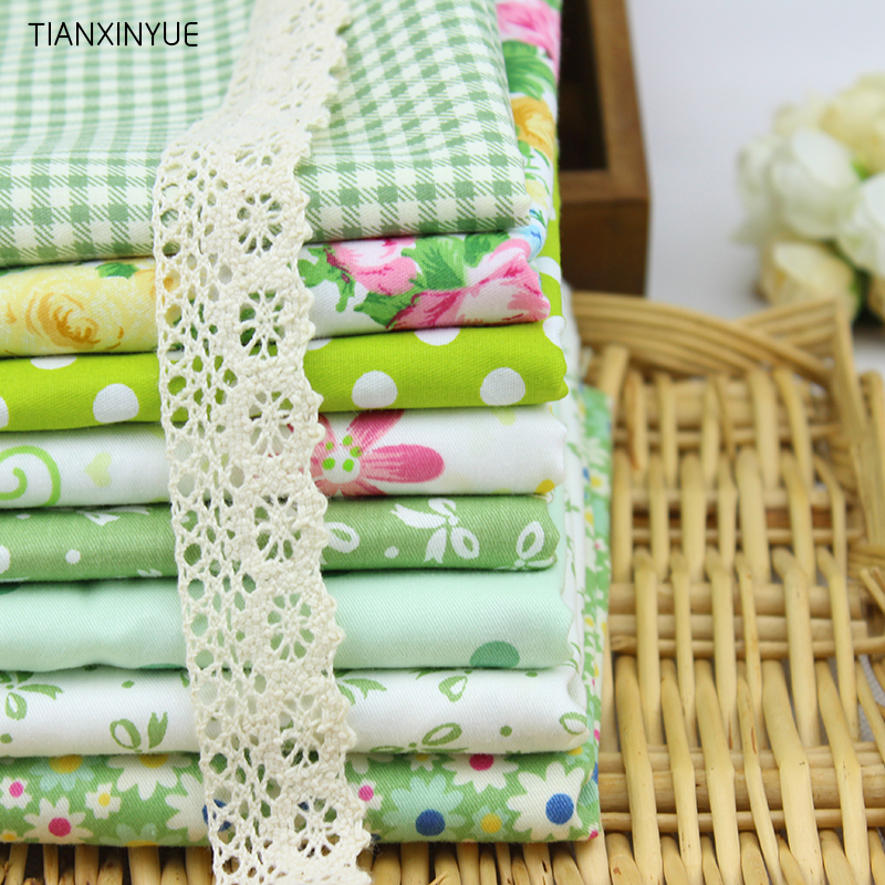 buy green series 8pcs cotton fabric for sewing patchwork textiles fabric 40 50. Black Bedroom Furniture Sets. Home Design Ideas