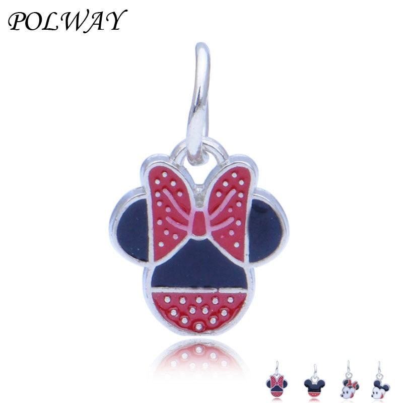 lot Minnie Charm Necklace Bracelet Earrings Pendants Key DIY