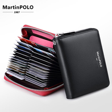 MartinPOLO Women Genuine Leather Wallet Men Business credit card holder RFID protection ID Holder 30 Cards Purse MP4001