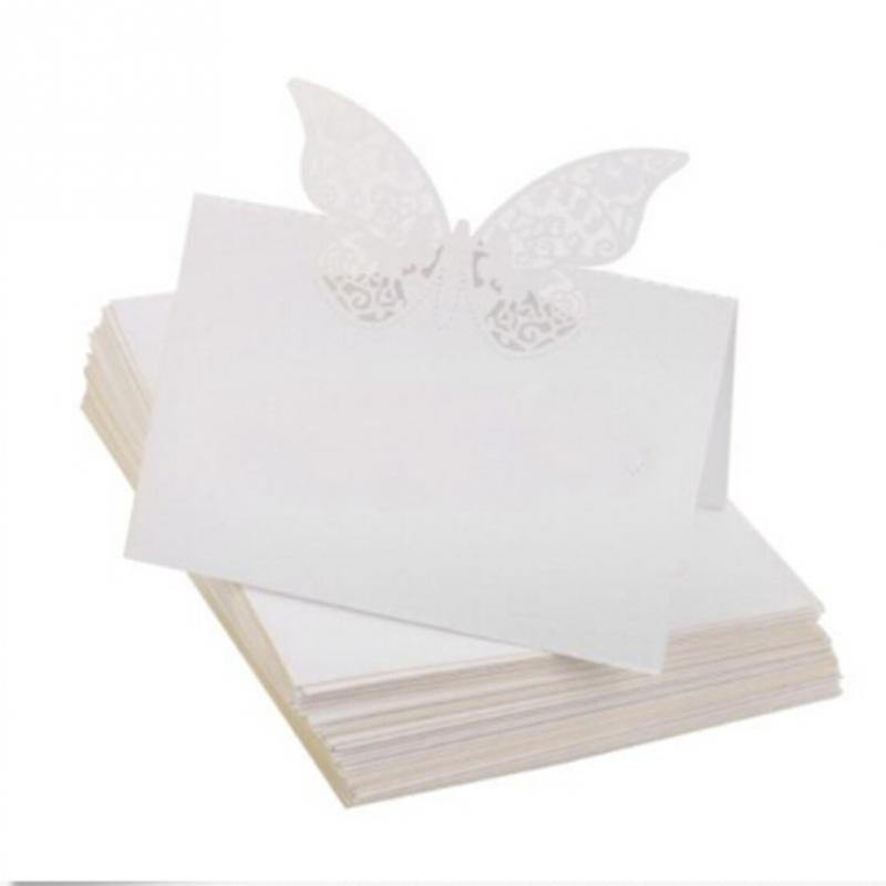 50pcs Laser Cut Elegant Butterfly Wine Glass Place Cards Wedding Table Seating Numbers for Wedding Party Festive Supplies 1 design laser cut white elegant pattern west cowboy style vintage wedding invitations card kit blank paper printing invitation
