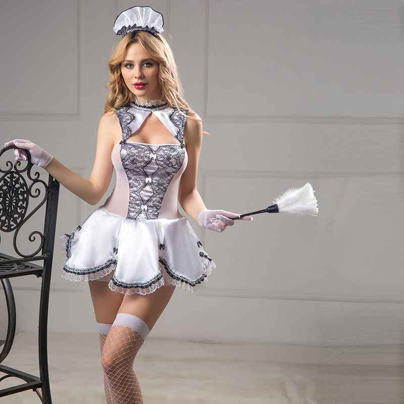 High grade erotic maid dress women servant cosplay costumes outfit porno maid costume free size sexy underwear 6110