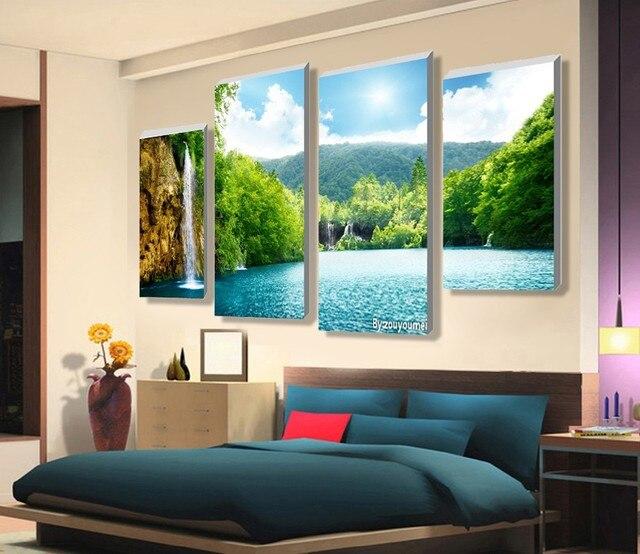 Lovely Hohe Qualitat Schone Wasserfall Landschaft Malerei Blumen Moderne Bilder  Auf Leinwand Kunstwerk Druck Angepasst Bild
