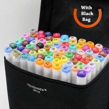 168 farben/set touchnew grafik-design kunst marker copic marker alkohol doppelendprofiler permanent marker pen mit stift fall