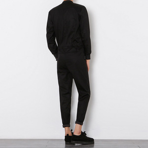 Image 4 - Helisopus 2020 Mens Overalls Rompers With Zipper Harem Bib Pants Male Long Sleeved One Piece Skinny Black Jumpsuit Asian size