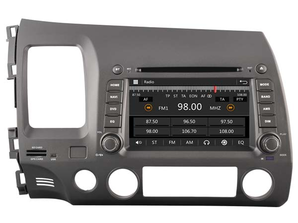 Car dvd Player for HONDA CIVIC LHD 2006-2011/1080P/DVR/3G/WIFI/TPMS/GPS/RADIO/bluetooth/navigation/free map camera
