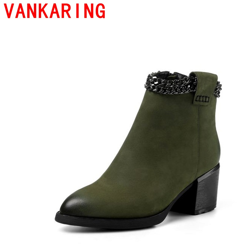 ФОТО VANKARING shoes 2017 women ankle boots european and american style side zipper fashion pointed toe hoof heels chain decoration