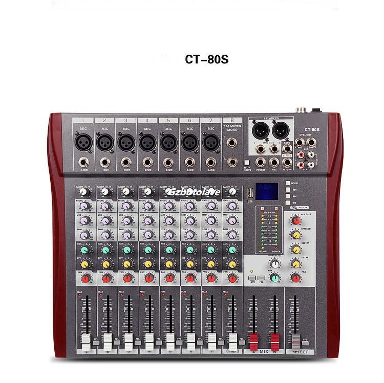 CT-80S/USB 8 channel Meeting U disk MP3 wedding di mixer professional amplifier mixer stage audio mixer karaoke color display ct 80s usb di mixer professional amplifier mixer 8 channel stage audio mixer karaoke mixer mixing console mesa dj preamplifier