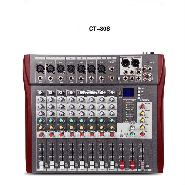 CT-80S/USB 8 canaux Réunion U disque MP3 mariage di mélangeur amplificateur professionnel mélangeur audio de scène mélangeur karaoké couleur affichage