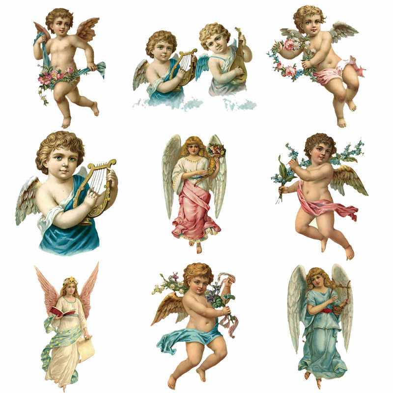 Iron on Patches Cute Cartoon Angel Wings Christ Jesus Heat Transfer Stickers Clothes Decor Applique Stranger Things Diy T-shirt