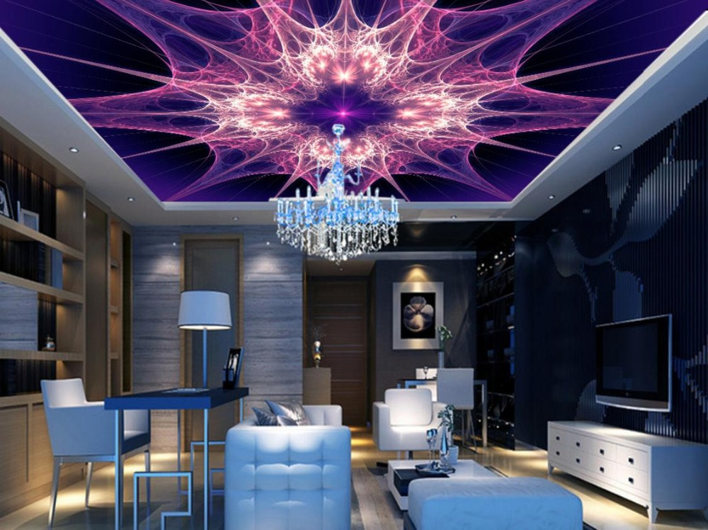 Wallpapers For Living Room KTV Ceiling Abstract Purple Bright Color Wall papers Home Decor Fashion 3D Ceiling Murals Wallpaper